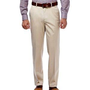 Haggar Khaki Stretch Classic-Fit Flat-Front Pants